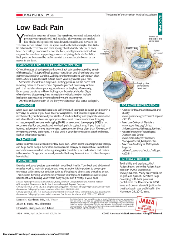 "Click to read and print the full article ""Low Back Pain"" from the Journal of the American Medical Association as a PDF"